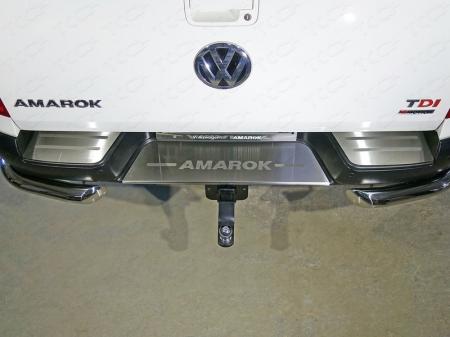 Volkswagen Amarok 2016-Накладки на задний бампер (лист шлифованный надпись Amarok)